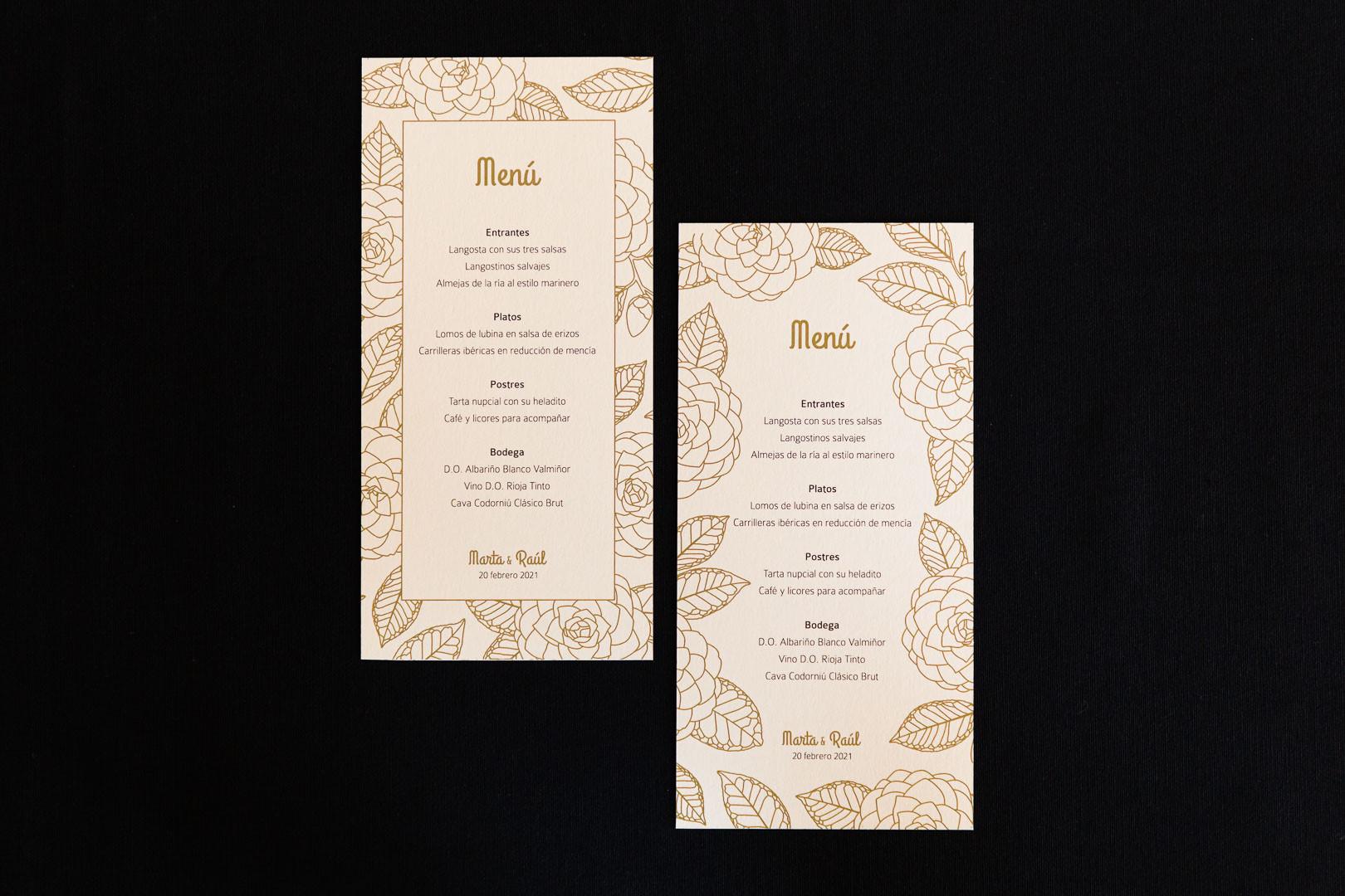 minutas, .jpginvitación de boda, invitacións de voda, invitación floral, invitación camelia, invitación elegante, estudio de diseño gráfico en Santiago