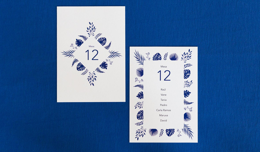 invitaciones de boda, invitaciones de boda en Santiago de Compostela, invitaciones diferentes, invitación de boda floral, mesero, seating plan