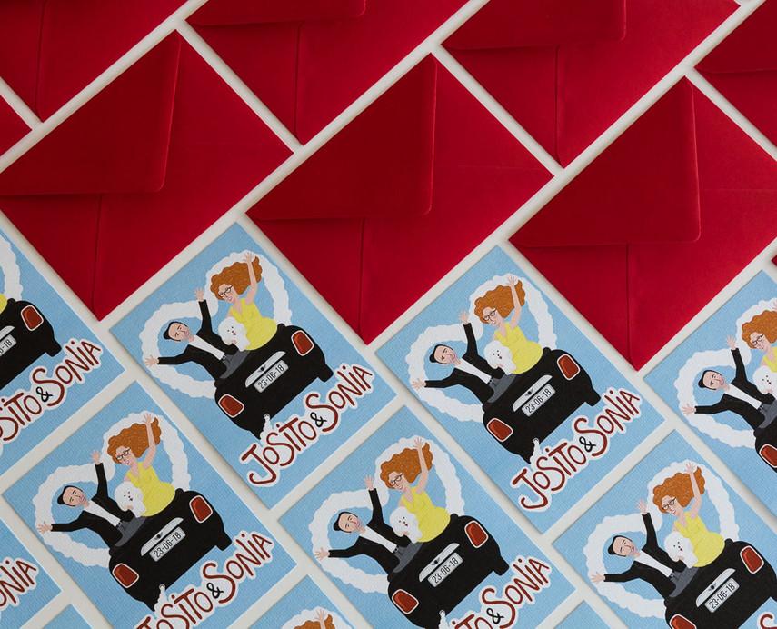 sobres de colores, sobres a juego con tu invitación, invitaciones diferentes, invitación estilo Grease