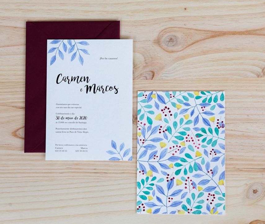 invitaciones de boda, invitaciones de boda en Santiago de Compostela, invitaciones diferentes, invitación con flores de acuarela, invitación de boda floral