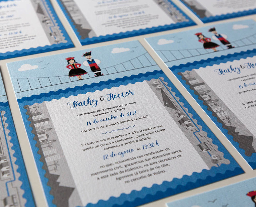 invitación de voda, invitación de boda diferente, invitación en Santiago de Compostela, invitaciones originales y creativas, invitación personalizada