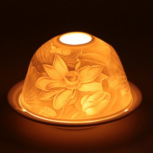Eclairage d'ambiance en porcelaine 'fleur de lotus'