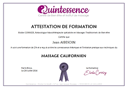Attestation de fomation massage californien Brive