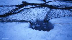 après avoir creusé un trou sur la banquise, l'inuit peut enfin glisser son filet.