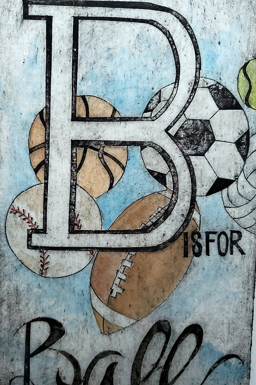 """B is for Ball"" Collograph Print"