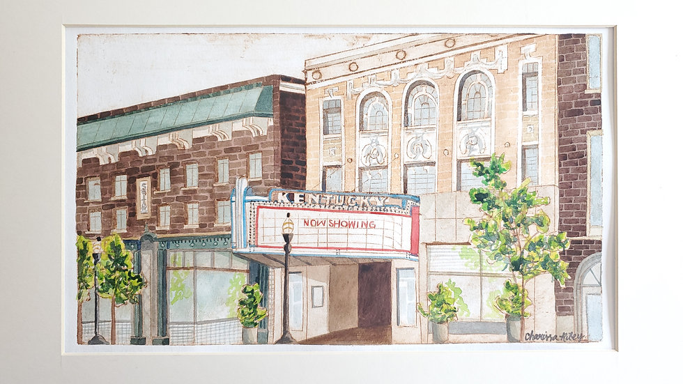 """Now Showing""- watercolored Collograph print of the Kentucky Theater"