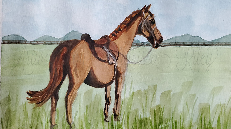 """All Saddled Up With Nowhere To Be"" - 5x7 Watercolor of a Kentucky horse"