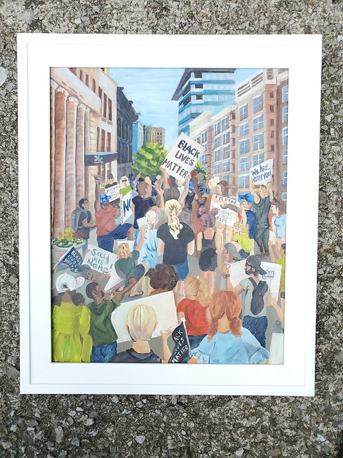 """""""A Bluegrass United""""- oil painting of the Black Lives Matter Movement downtown"""