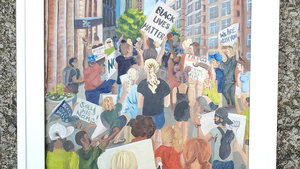 """A Bluegrass United""- oil painting of the Black Lives Matter Movement downtown"