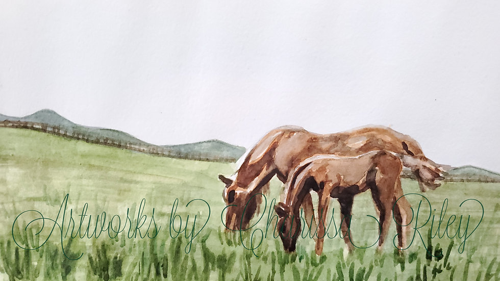 """Morning Snack"" -5x7 watercolor of Kentucky horses in the Bluegrass"