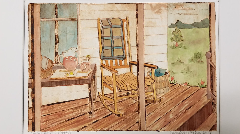 """Front Porch Sittin"" Collograph with Watercolor"