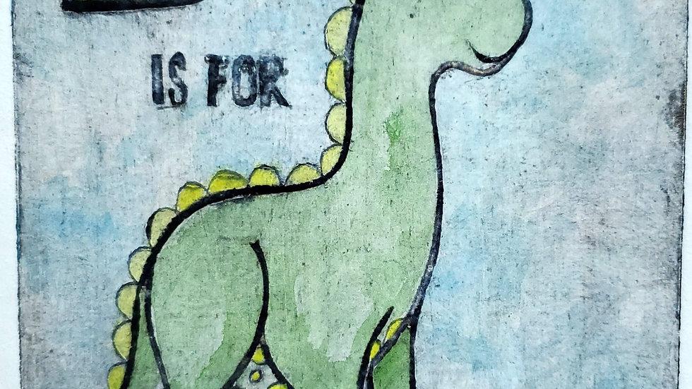 """D is for Dinosaur"" - Colloraph Print"