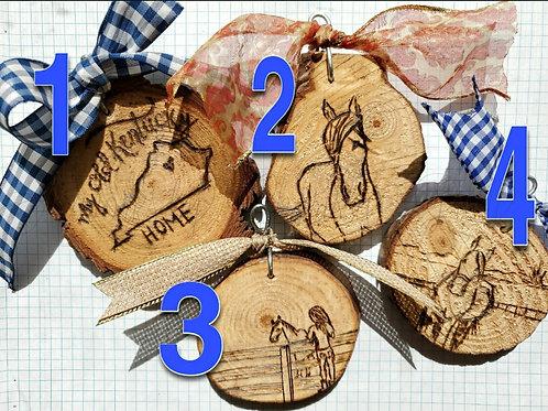 Chunky Woodburned Ornaments