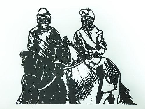 """""""Jockey-ing Around"""" - 8x10in. Linoleum Cut"""