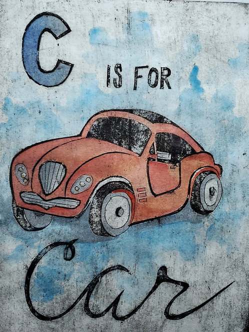 """""""C is for Car"""" Collograph Print"""