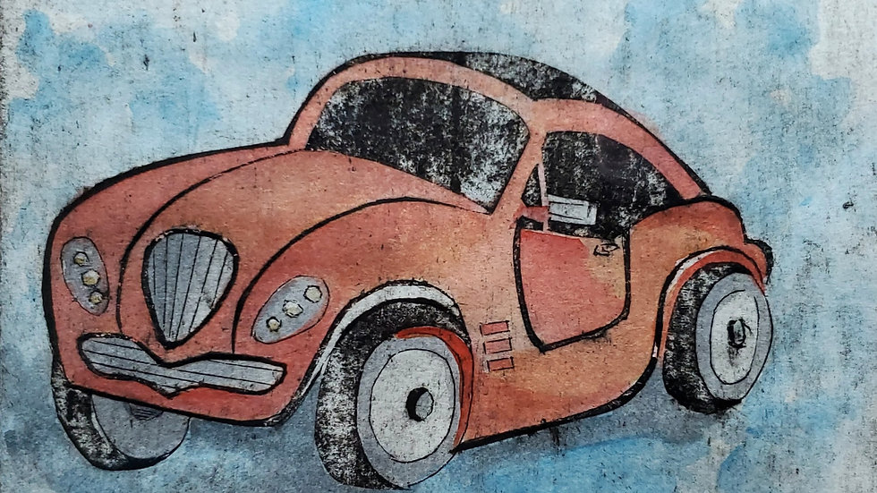 """C is for Car"" Collograph Print"