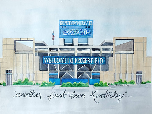 """Another First Down Kentucky"" -Watercolor Painting"