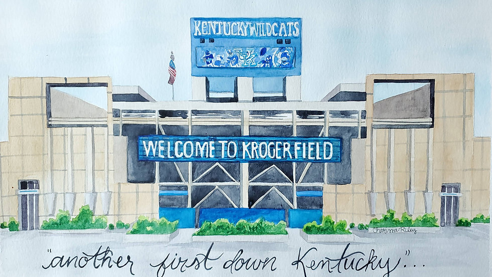 """""""Another First Down Kentucky"""" -Watercolor Painting"""