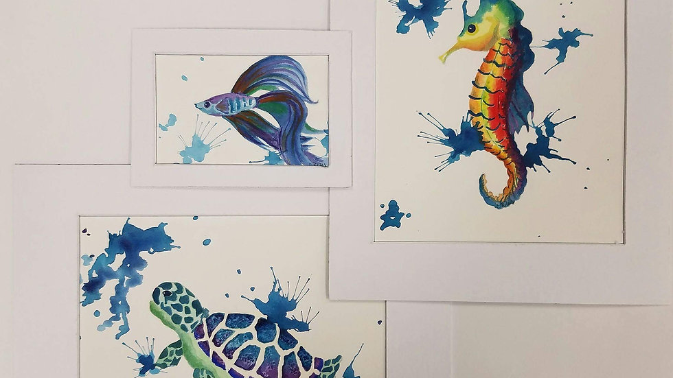 Sea Animals- Set of 3 Watercolored Paintings