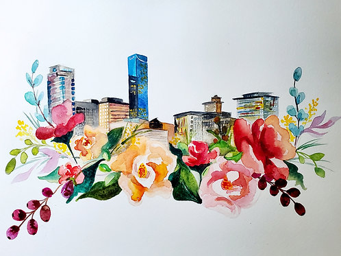 Lexington Skyline- Watercolor