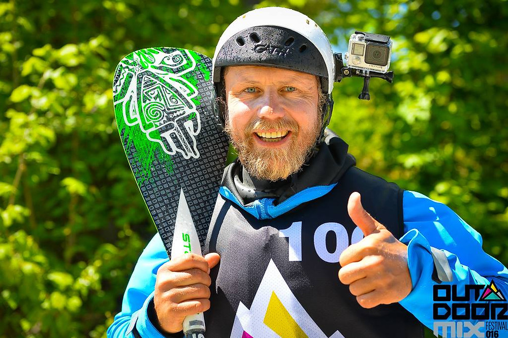Carsten Kurmis stoked on whitewater SUP