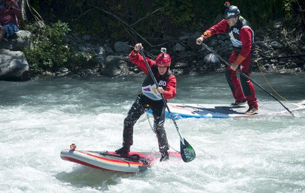 Dan Gavere in the crux of SUP Cross Whitewater final at Outdoor Mix Festival.