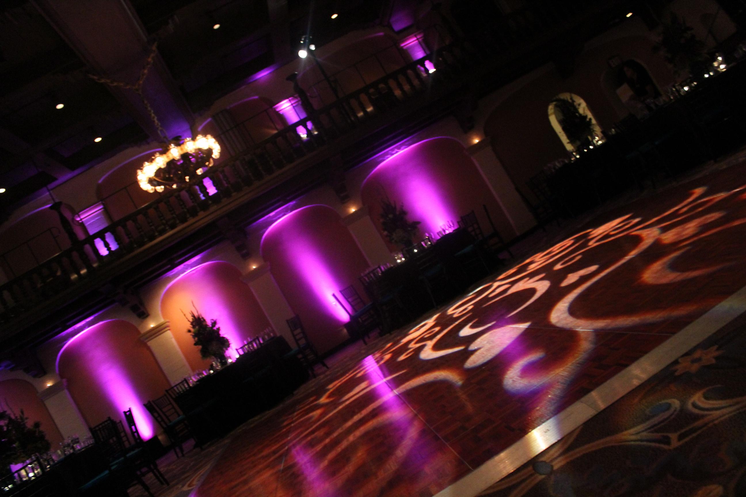 uplighting and floor monogram lighting