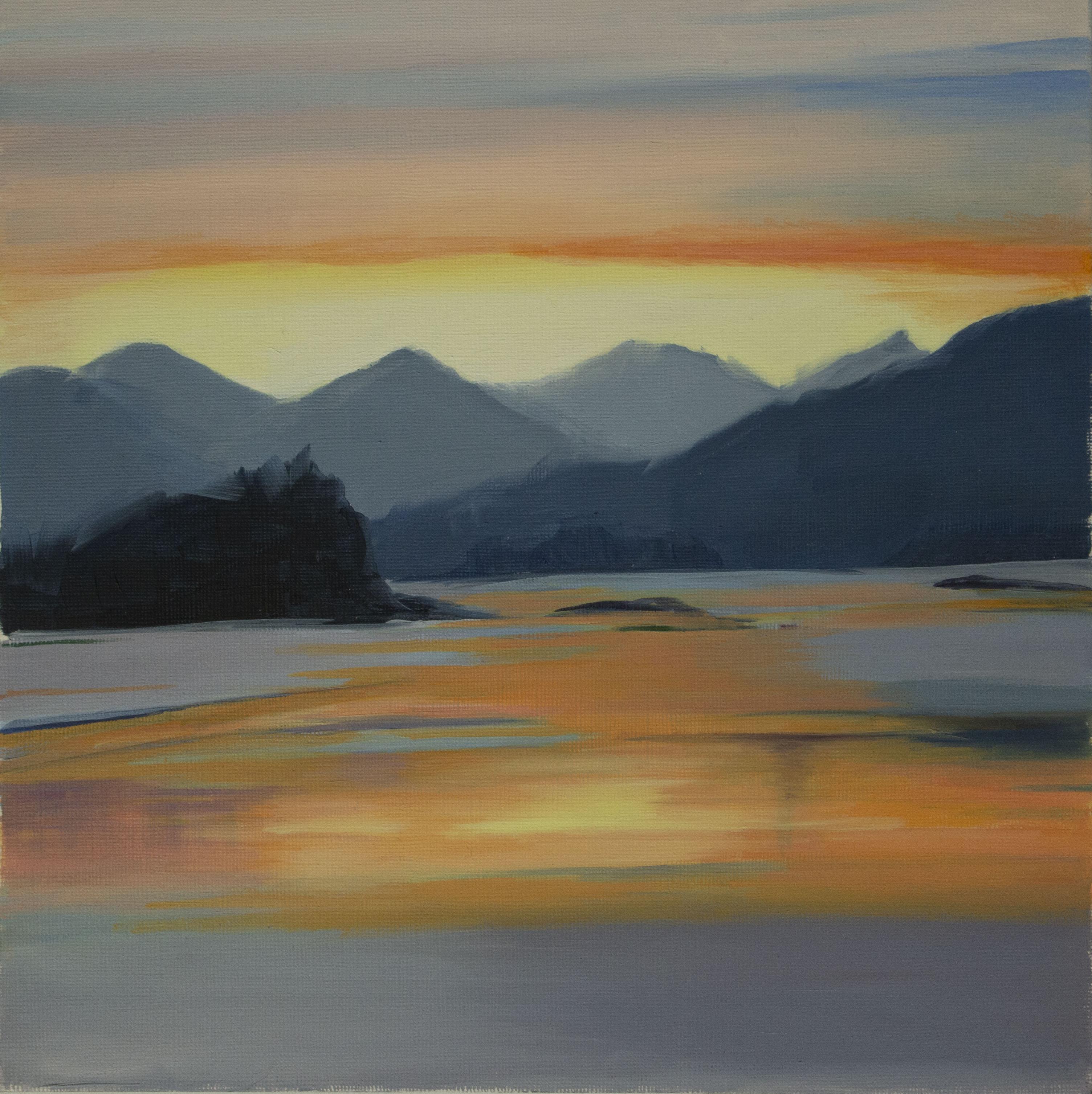 Mountain Lake Sunset, Oil, 25x26cm, 2019