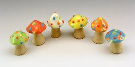 Dotty Mushroom set, small, set of 6, Gla