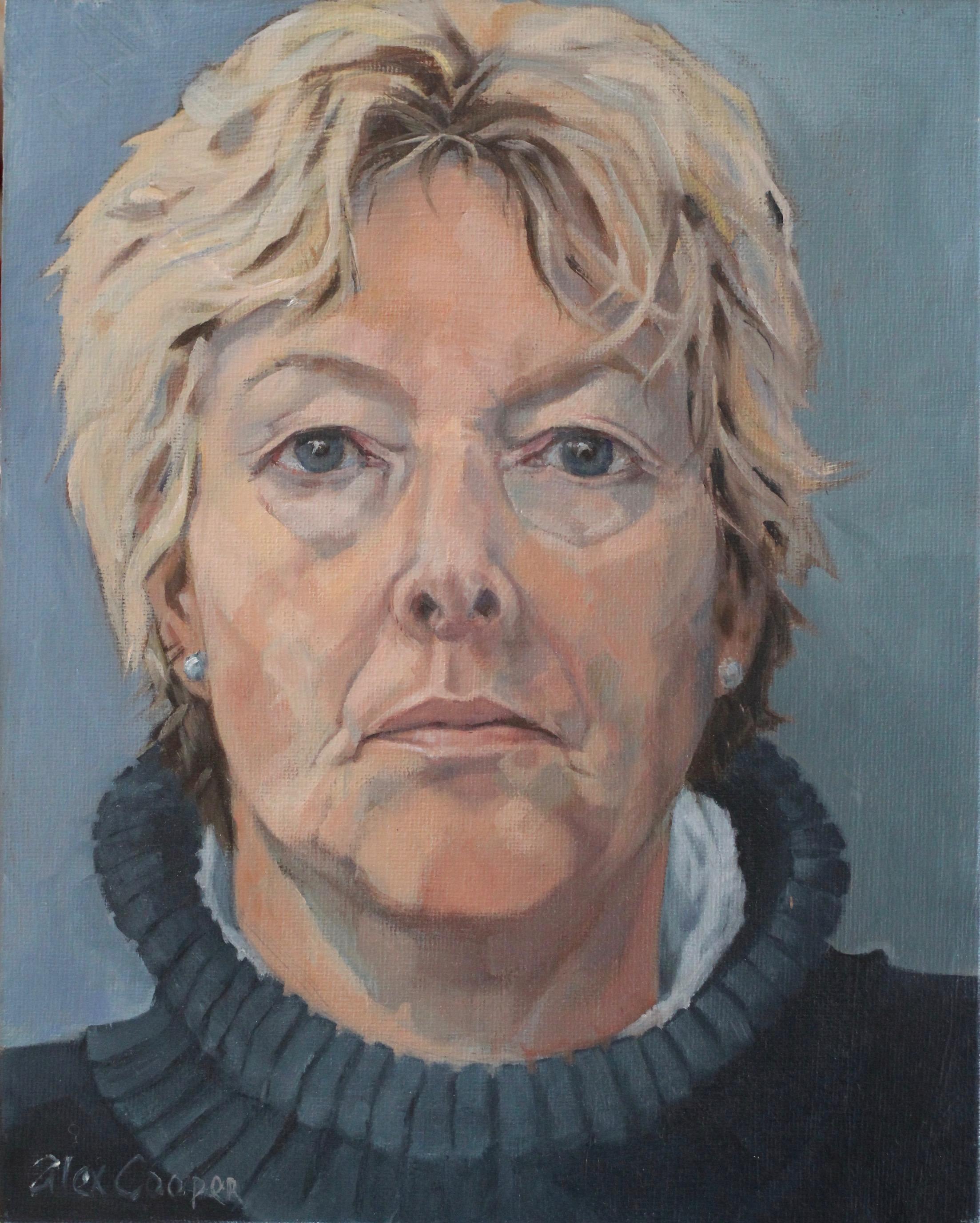 Self portrait in Blue - oil on board 8 x