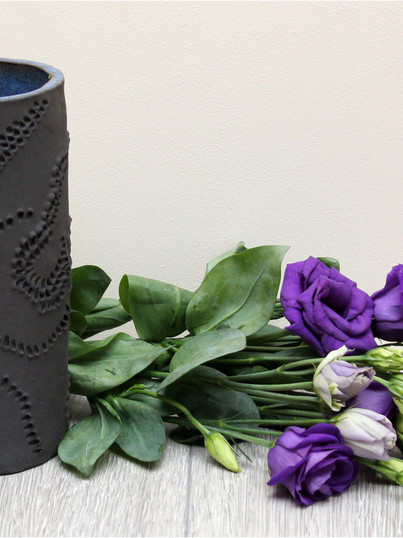 Blue black wave vase, black stoneware cl