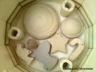 Inside  a bisque kiln by Katherine Fortnum