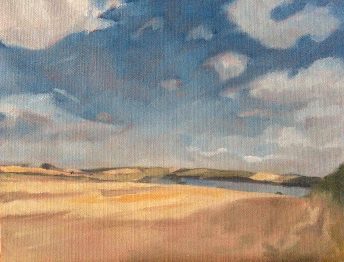 Eyebrook Reservoir - oil on board 10 x 8