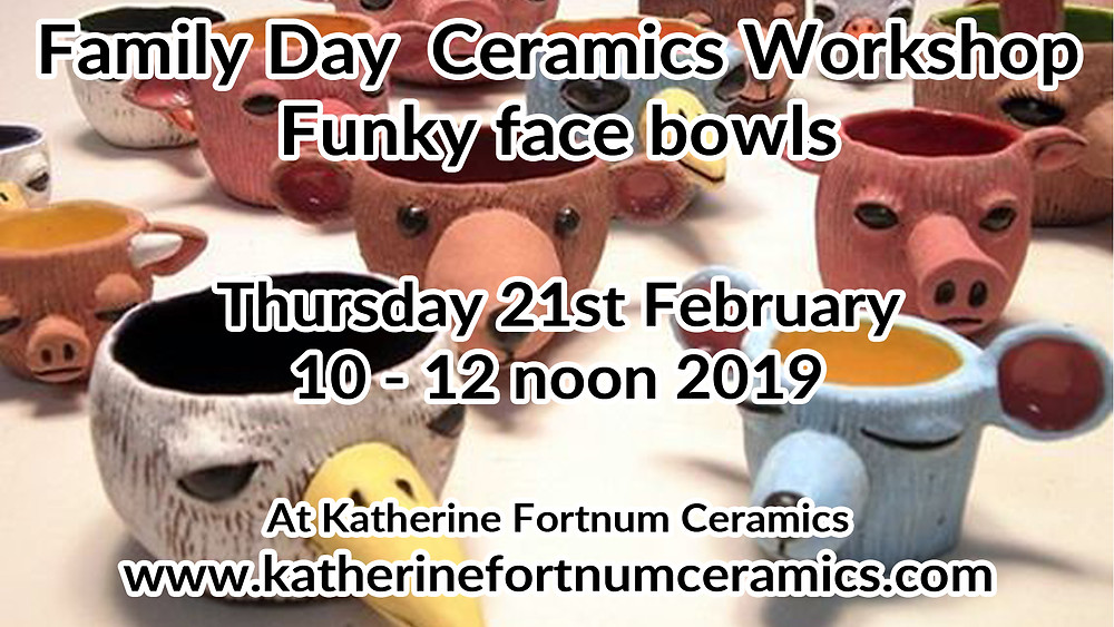 Funky face bowls, family day ceramics workshop, Katherine Fortnum ceramics 2019