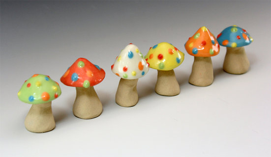 Dotty Mushroom set, small, set of 6, Gla