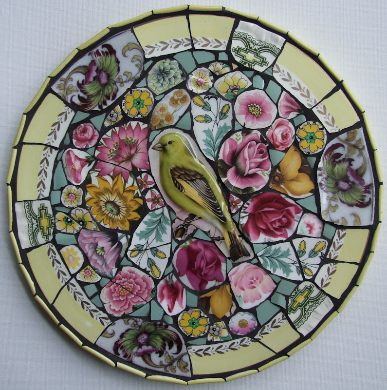 Greenfinch & Roses, China  Mosaic