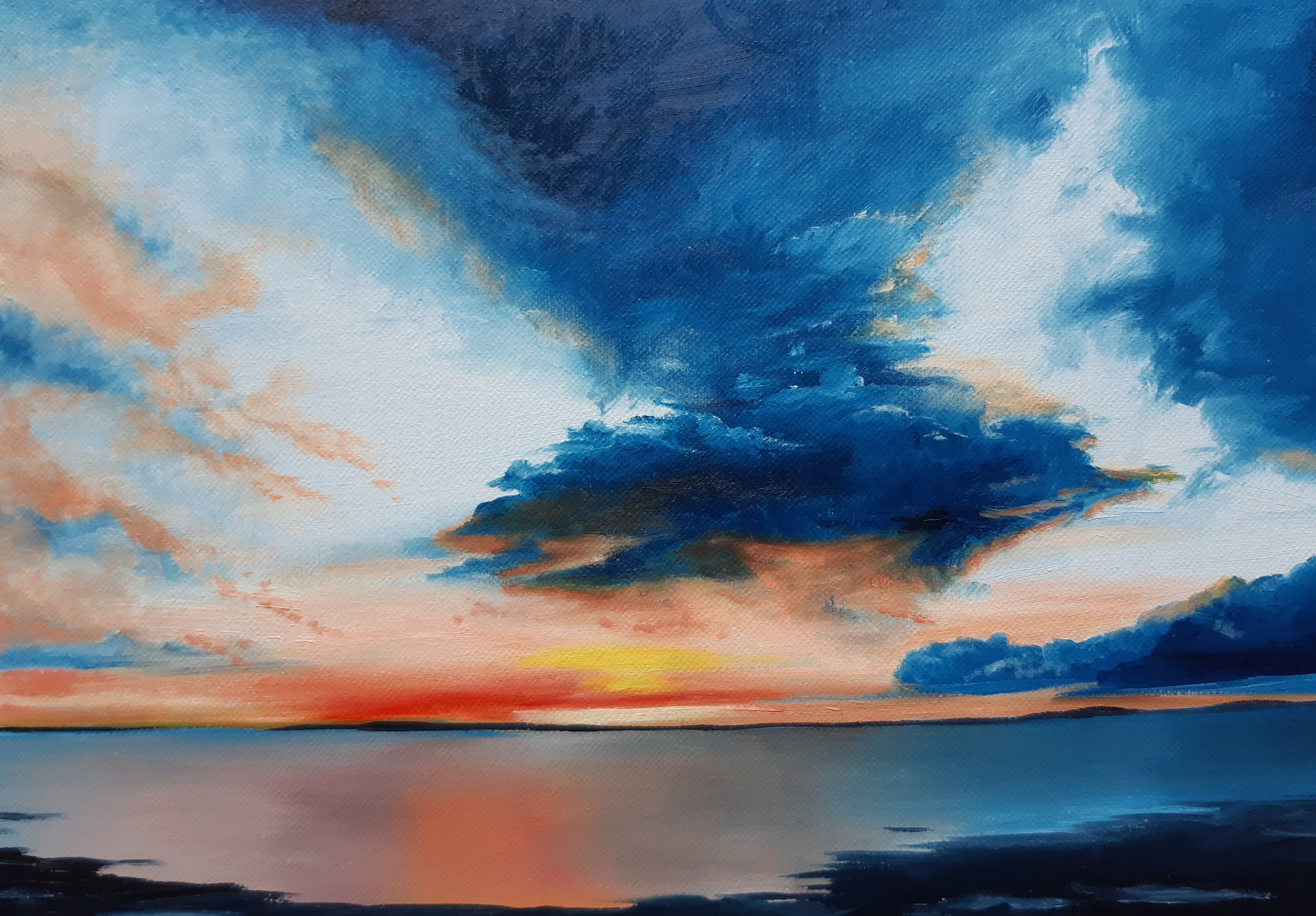 Storm Clouds, Oil, 30x20cm, 2020, by Cat