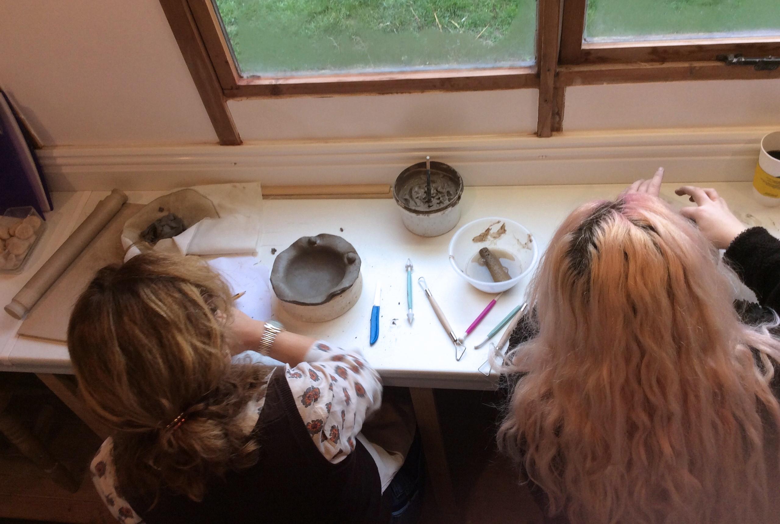 Charlotte and Deborah, bowl workshop, 13