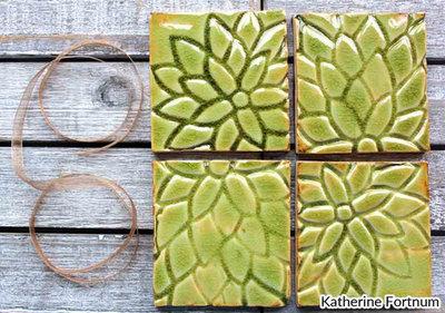 Ceramic coasters, set of 4, grass green crackle, white stoneware, Katherine Fortnum, June 2017