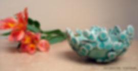 leafy bowl celadon small, Hand made, White Stoneware, Katherine Fortnum, 2014