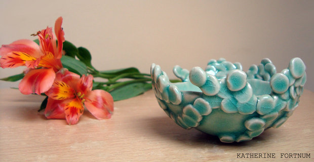 Leaf bowl, white stoneware, Katherine Fortnum, 2014, photograph by Katherine Fortnum