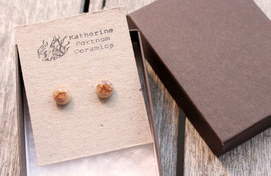 Ceramic stud earrings, fawn crackle, Sterling silver, hand made white stoneware, by Katherine Fortnum 2016