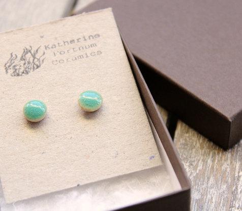 Ceramic stud earrings, turquoise bubble