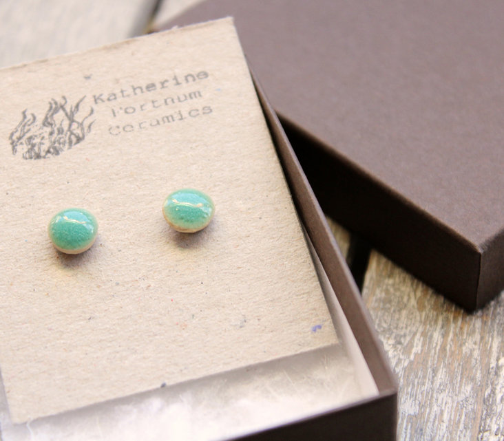 Ceramic stud earrings, turquoise bubble