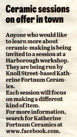 'Ceramic sessions on offer in town'