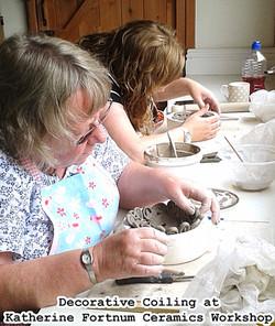 decorative coiing at Katherine fortnum ceramics