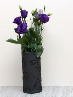 Blue black wave vase, black stoneware cl