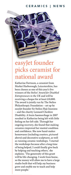 Easyjet founder picks ceramicist for national award - CERAMIC REVIEW 289 2018