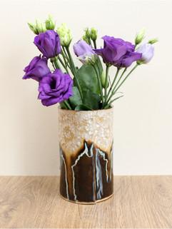 intricate vase, ice chocolate, stoneware