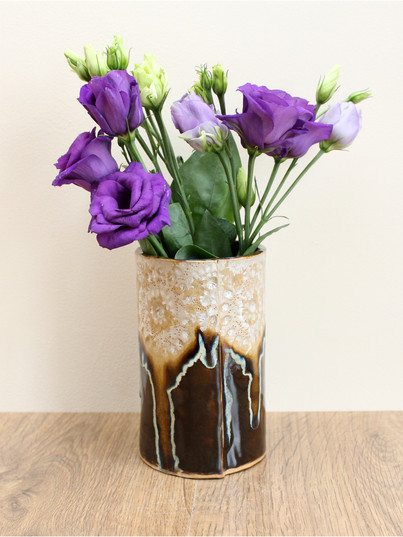 intricate vase, ice chocolate, stoneware